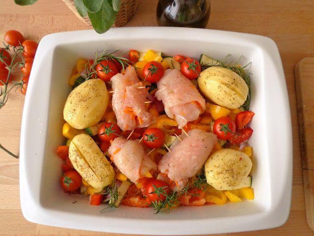 Pieczone roladki z piersi kurczaka