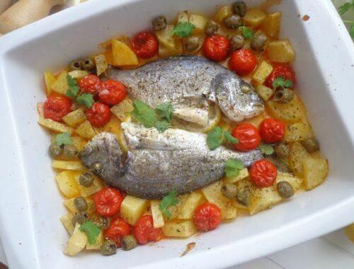 Pieczona dorada z ziemniakami