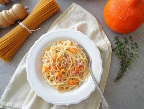 Spaghetti alla carbonara z dynią i boczkiem