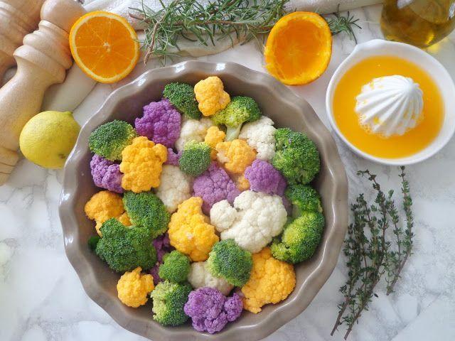 Pieczony kalafior i brokuły w sosie pomarańczowym