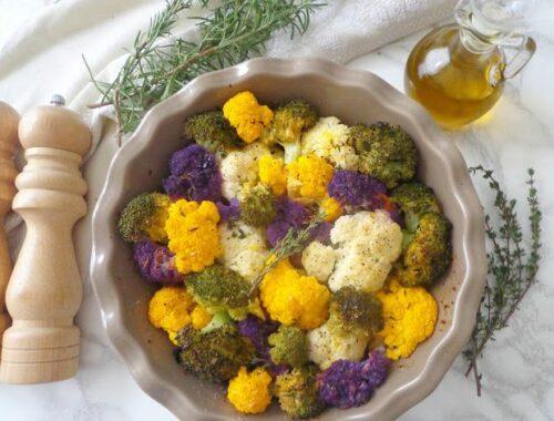 Pieczony kalafior i brokuły