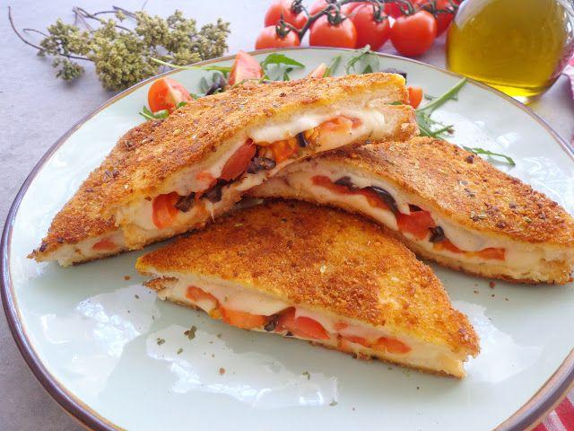 Francuskie tosty z pomidorami i mozzarella