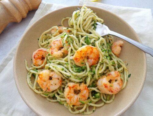 Spaghetti z cukinią i krewetkami