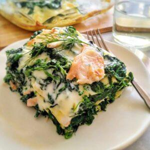 Lasagne ze szpinakiem i wędzonym łososiem