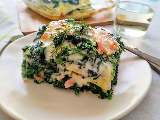 Przepis na lasagne ze szpinakiem i wędzonym łososiem