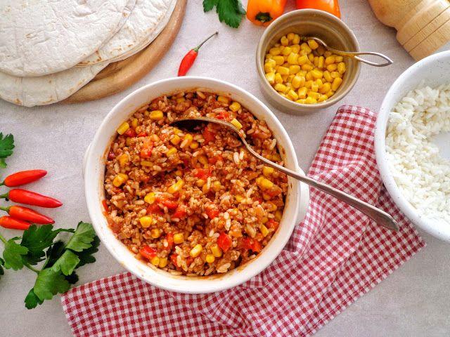 Farsz z ryżem i mięsem mielonym do burrito