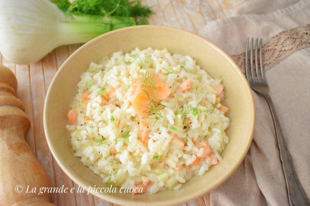 Przepis na risotto z wędzonym łososiem i koprem