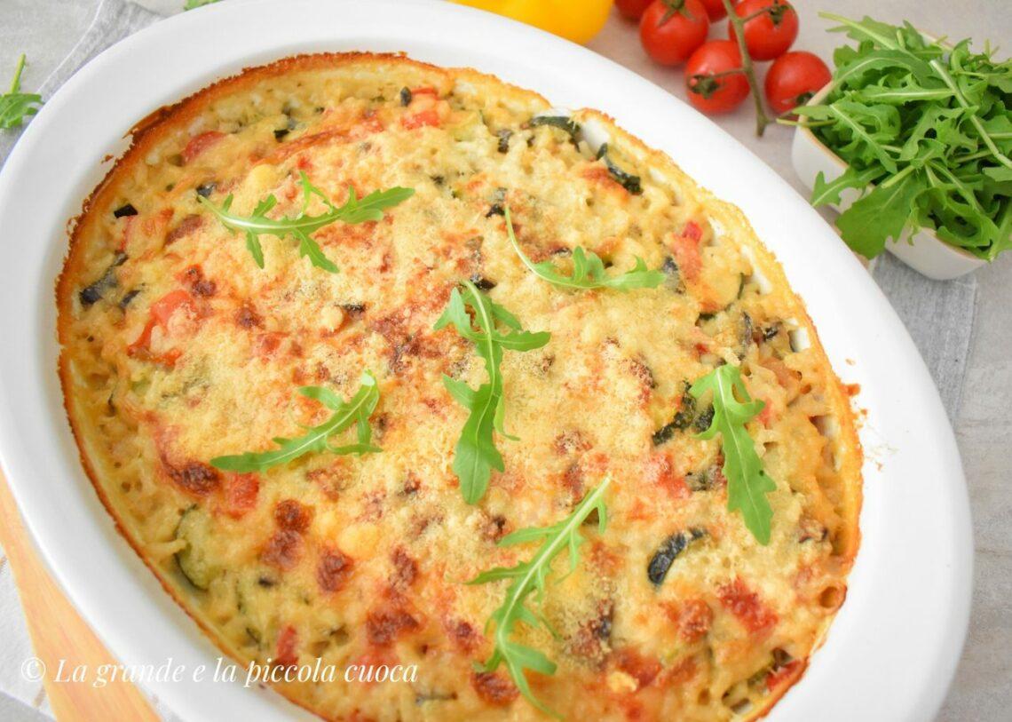 Zapiekanka z ryżem i kolorowymi warzywami