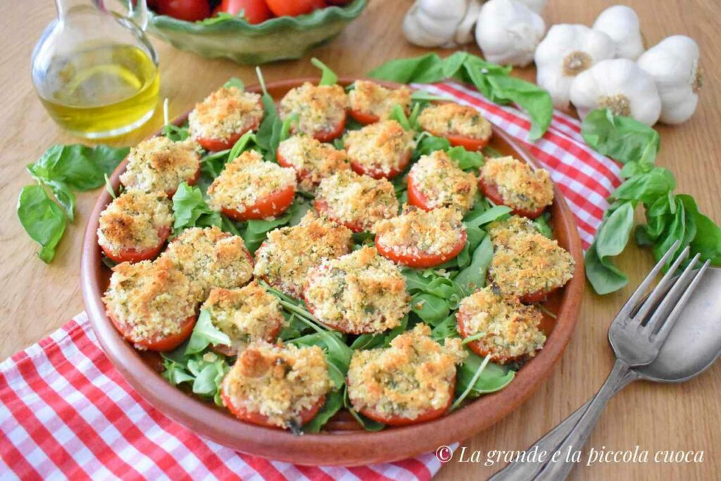 Pieczone pomidory pod panierka z ziolami